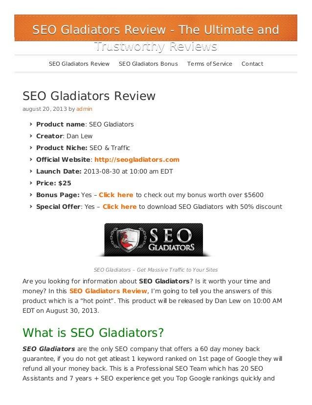 Seo Gladiators Review - Huge Bonus $5600