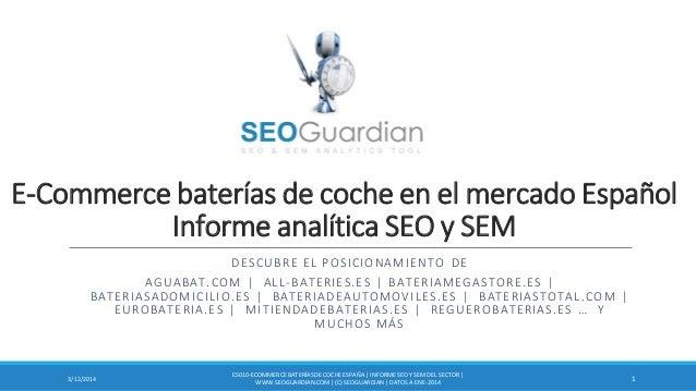 E-Commerce baterías de coche en el mercado Español Informe analítica SEO y SEM DESCUBRE EL POSICIONAMIENTO DE AGUABAT.COM ...