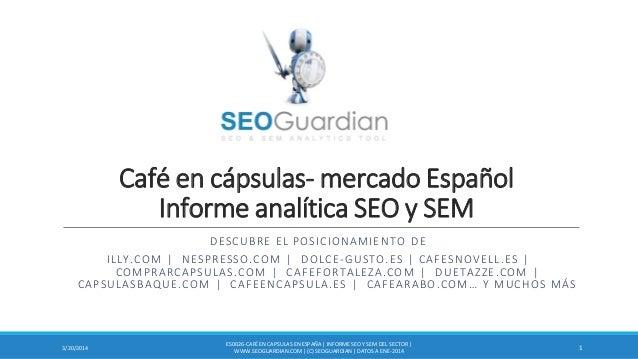 Café en cápsulas- mercado Español Informe analítica SEO y SEM DESCUBRE EL POSICIONAMIENTO DE ILLY.COM | NESPRESSO.COM | DO...