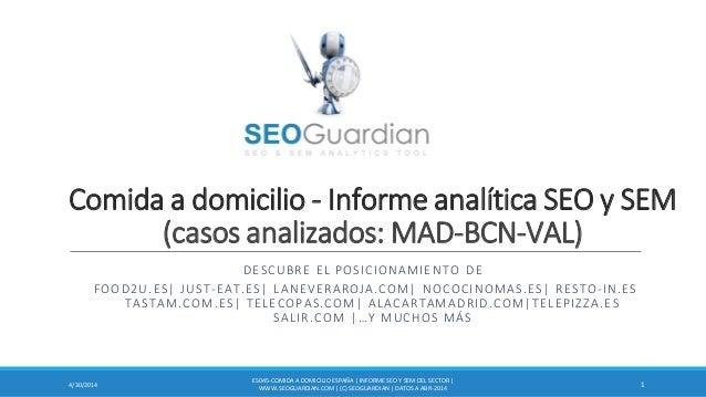 Comida a domicilio - Informe analítica SEO y SEM (casos analizados: MAD-BCN-VAL) DESCUBRE EL POSICIONAMIENTO DE FOOD2U.ES|...