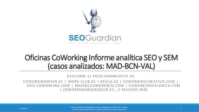 Oficinas CoWorking Informe analítica SEO y SEM (casos analizados: MAD-BCN-VAL) DESCUBRE EL POSICIONAMIENTO DE COWORKINGSPA...