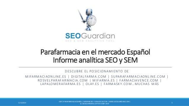 Parafarmacia en el mercado Español Informe analítica SEO y SEM DESCUBRE EL POSICIONAMIENTO DE MIFARMACIAONLINE.ES | DIGITA...