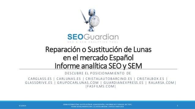 Reparación o Sustitución de Lunas en el mercado Español Informe analítica SEO y SEM DESCUBRE EL POSICIONAMIENTO DE CARGLAS...