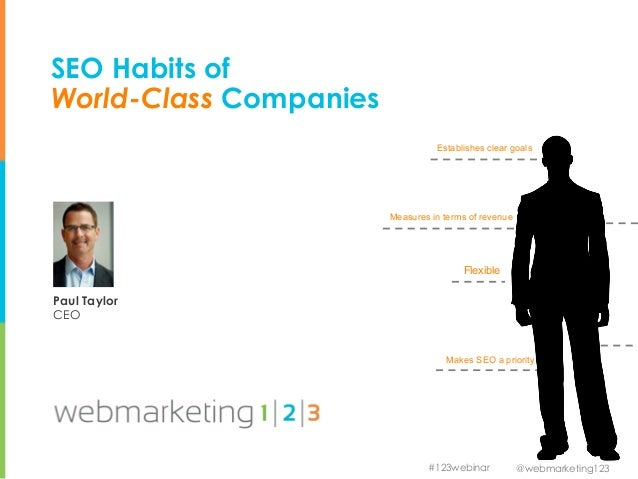 @webmarketing123#123webinarSEO Habits ofWorld-Class CompaniesPaul TaylorCEOMakes SEO a priorityEstablishes clear goalsMeas...