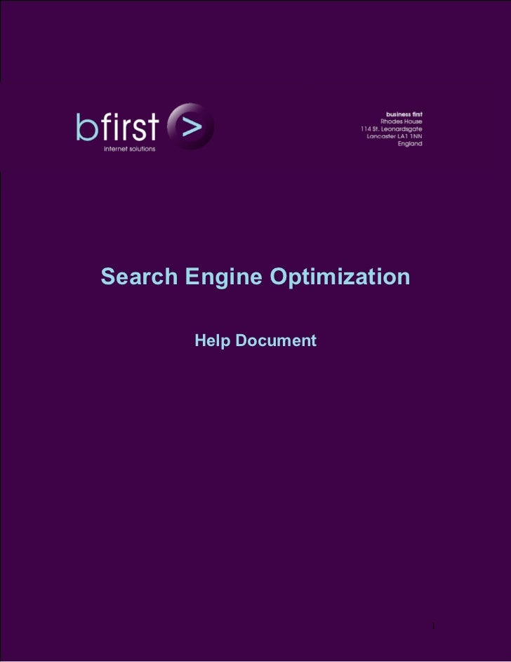 Search Engine Optimization       Help Document                             1