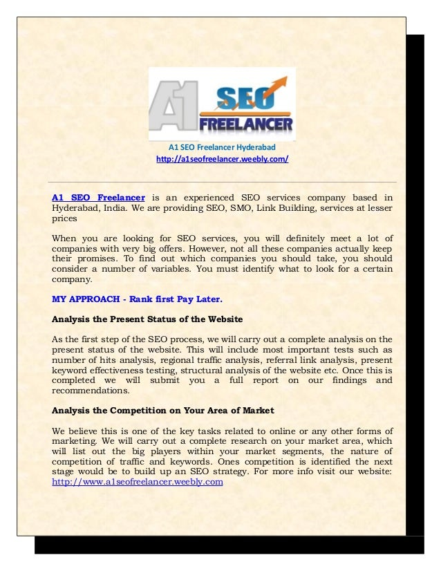 SEO Hyderabad -A1SEOFreelancer.weebly.com