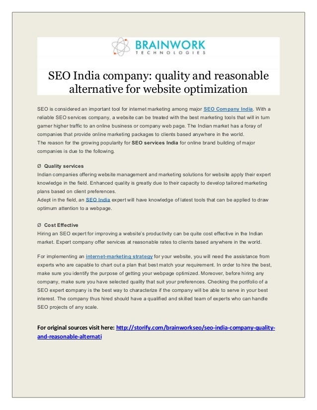 SEO India company: quality and reasonable alternative for website optimization SEO is considered an important tool for int...