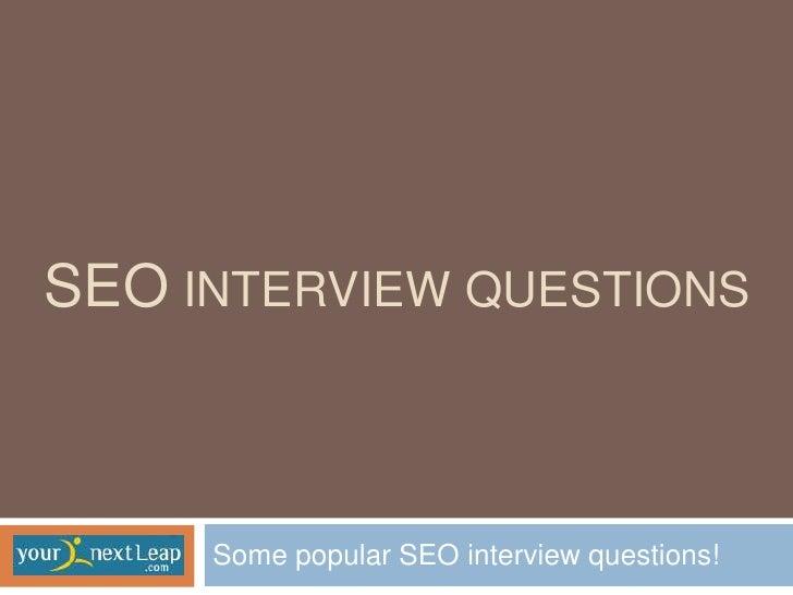 Seo Job Questions