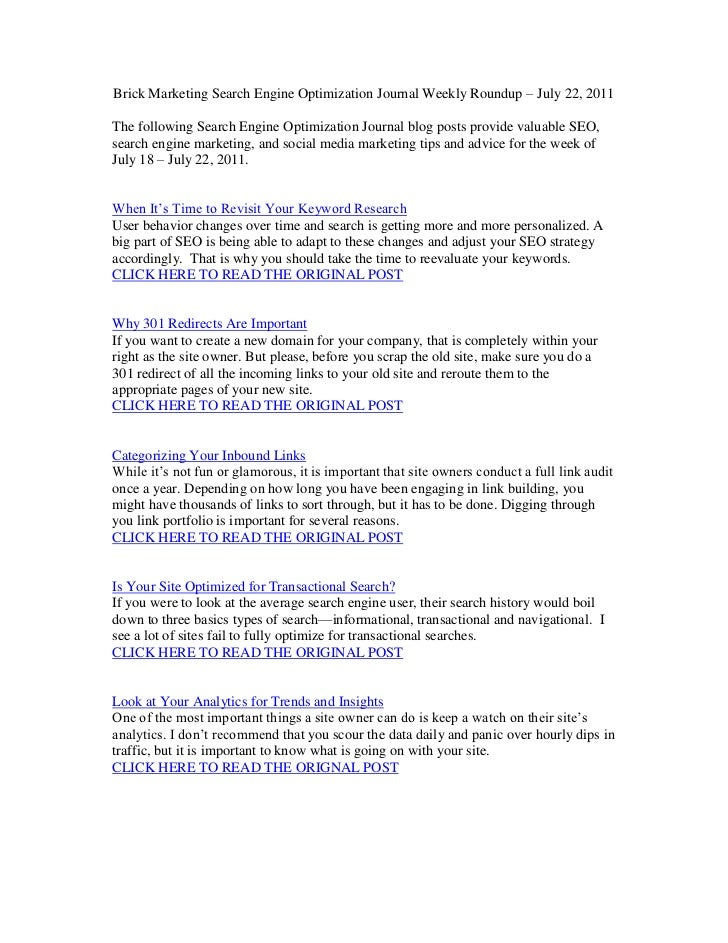 Brick Marketing Search Engine Optimization Journal Weekly Roundup – July 22, 2011<br />The following Search Engine Optimiz...