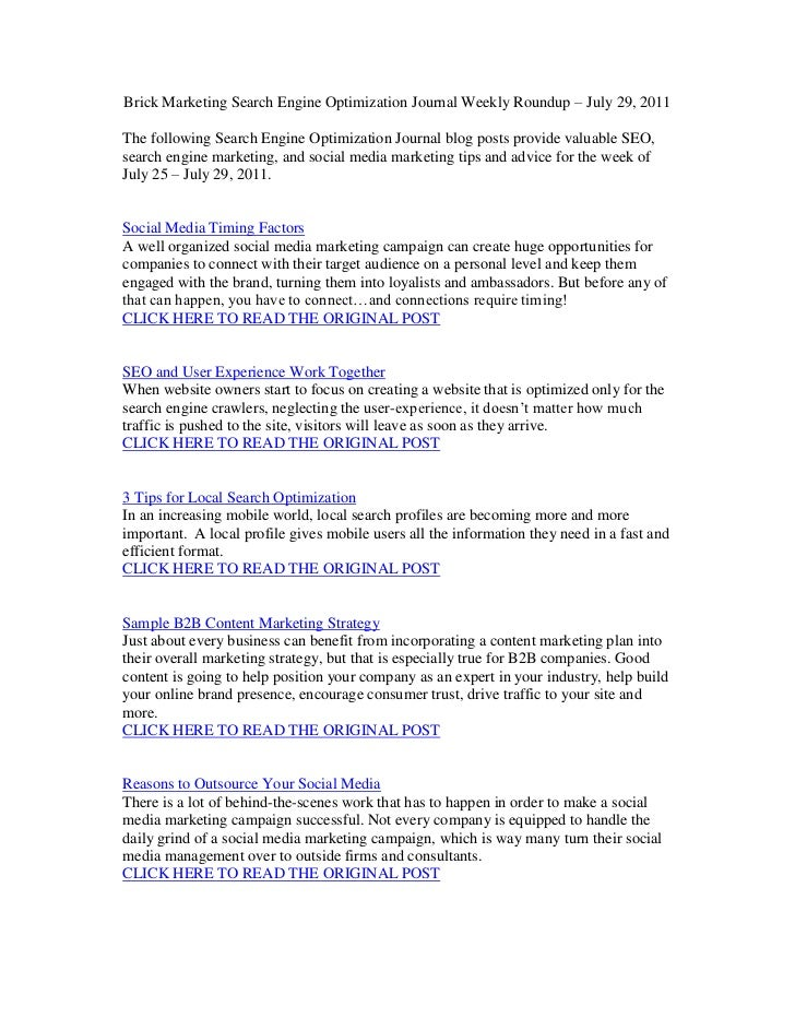 Brick Marketing Search Engine Optimization Journal Weekly Roundup – July 29, 2011<br />The following Search Engine Optimiz...