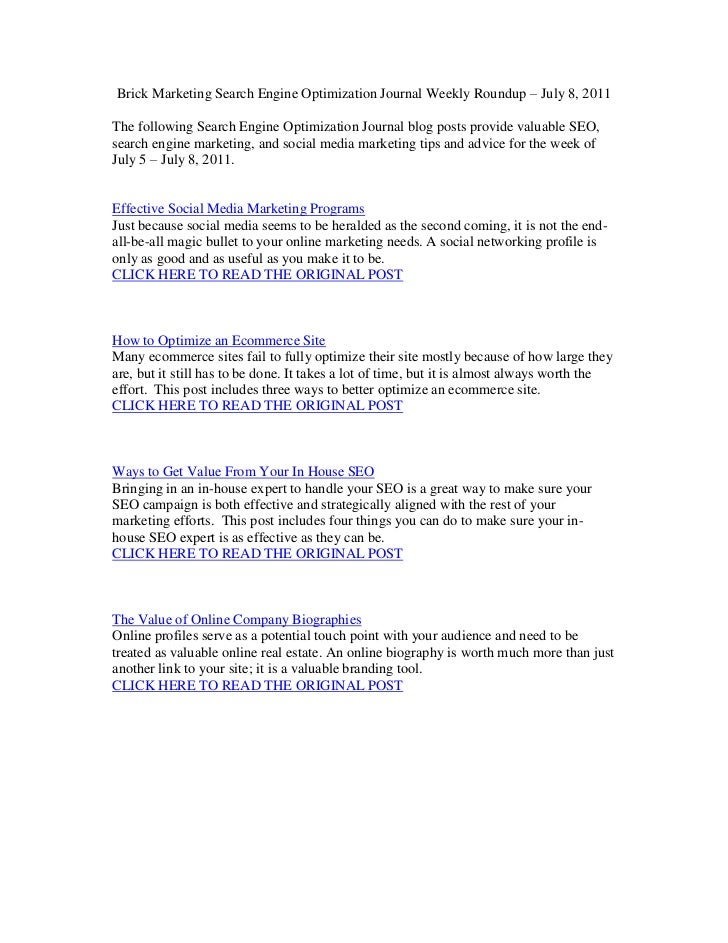 SEO Tips for July 8, 2011