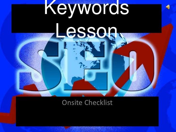 Keywords Lesson Onsite Checklist