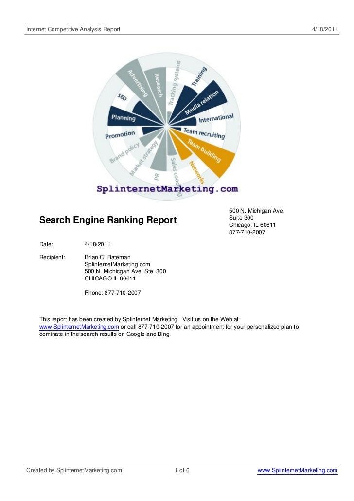 SEO, LLC dba Www.Splinternet Marketing.Com Search Engine Rankings On 4-18-2011