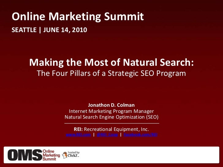 Online Marketing SummitSEATTLE | JUNE 14, 2010     Making the Most of Natural Search:       The Four Pillars of a Strategi...
