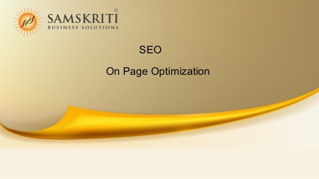 SEO On Page Activities 2014