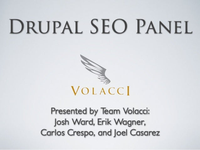 Volacci SEO Panel - DrupalCamp Austin 2010