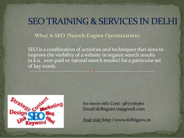 What is SEO (Search Engine Optimization) SEO is a combination of activities and techniques that aims to improve the visibi...