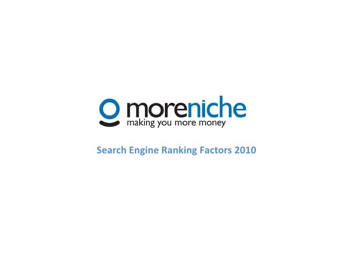 MoreNiched 2010 SEO Ranking Factors
