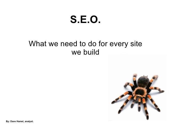 S.E.O. What we need to do for every site we build By: Dave Hamel, analyst.