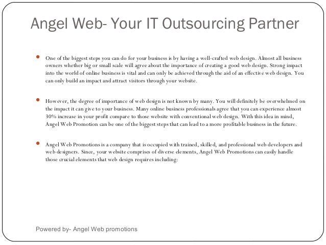 Angel Web- Your IT Outsourcing PartnerPowered by- Angel Web promotions One of the biggest steps you can do for your busin...
