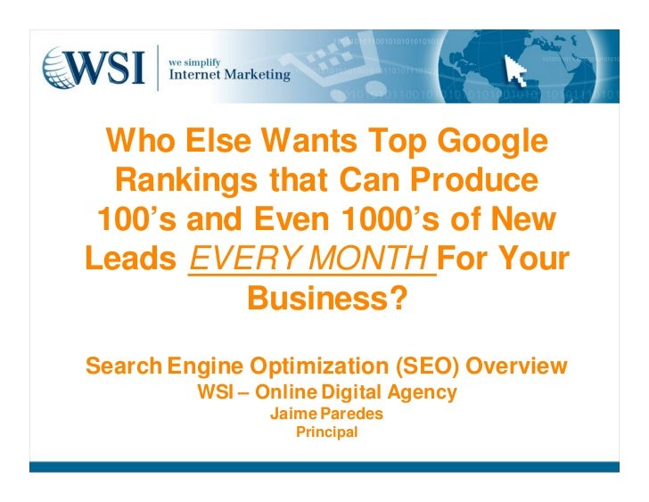 WSI We Simplify the Internet SEO Services