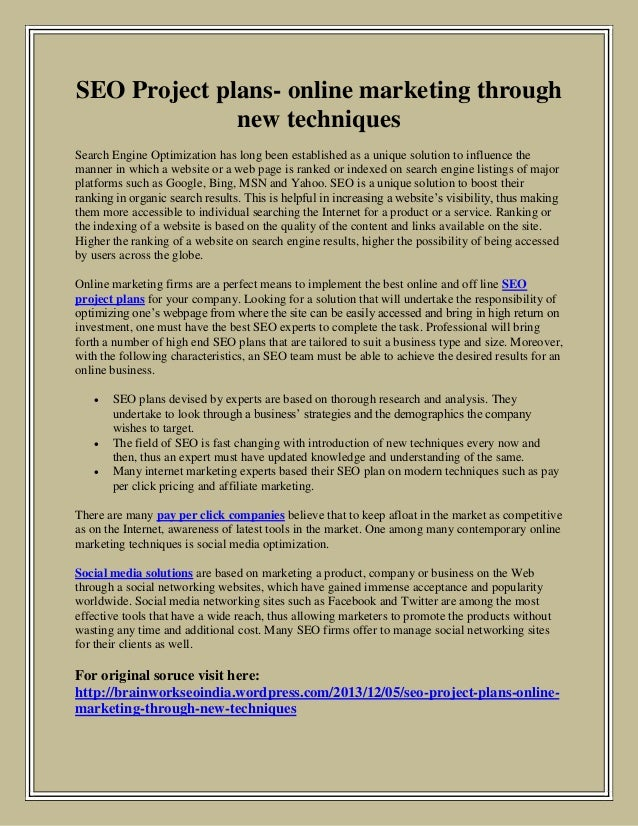 SEO Project plans- online marketing through new techniques