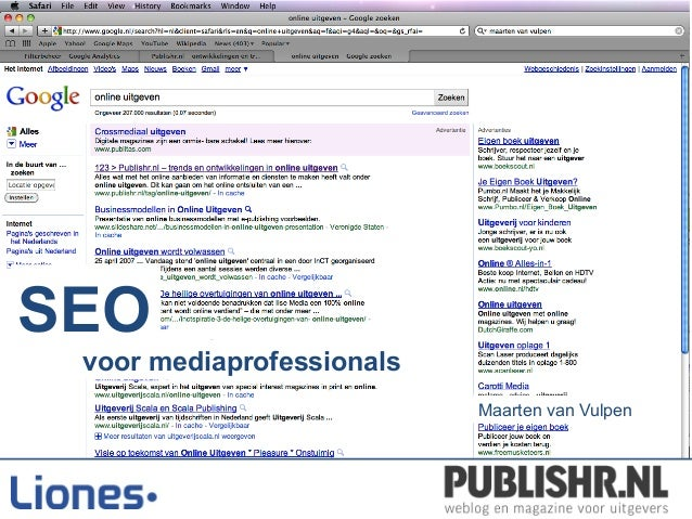 SEO Workshop Publishr.nl 25-11-2010