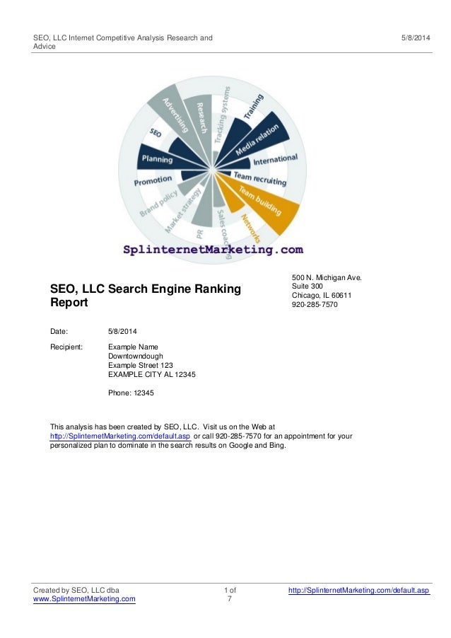 SEO, LLC Internet Competitive Analysis Research and Advice 5/8/2014 SEO, LLC Search Engine Ranking Report 500 N. Michigan ...