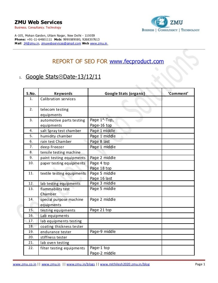 Seo report on 13.12.2011 for www.fecproduct.com [zmu web services (24@zmu.in)].docx