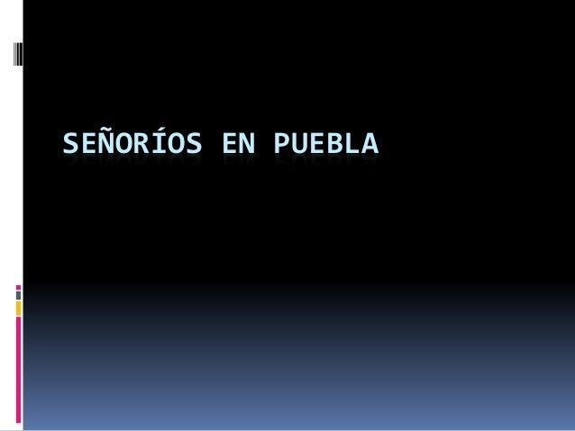 SEÑORÍOS EN PUEBLA