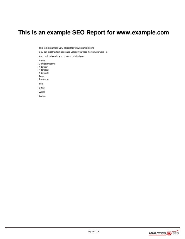 This is an example SEO Report for www.example.com This is an example SEO Report for www.example.com You can edit this firs...