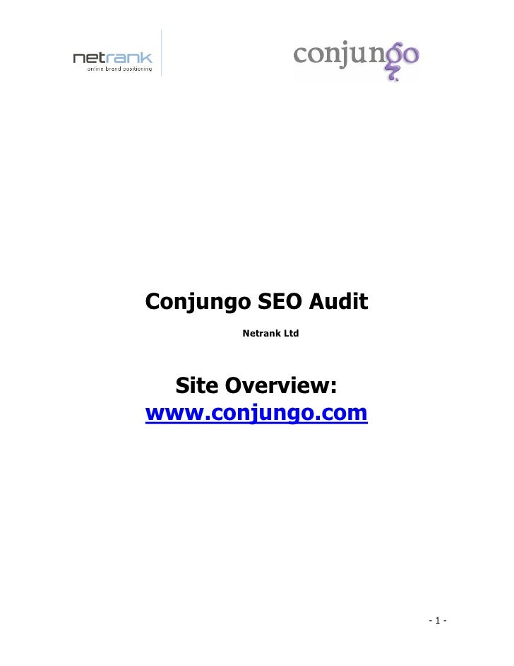 Conjungo SEO Audit        Netrank Ltd       Site Overview: www.conjungo.com                          -1-