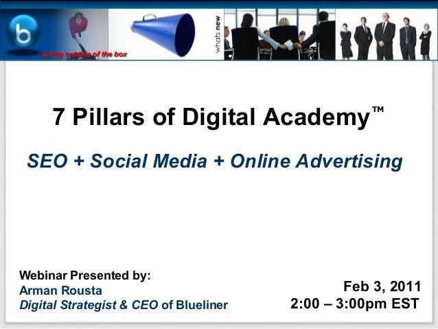 7 Pillars of Digital Academy                                                   TM SEO + Social Media + Online AdvertisingW...