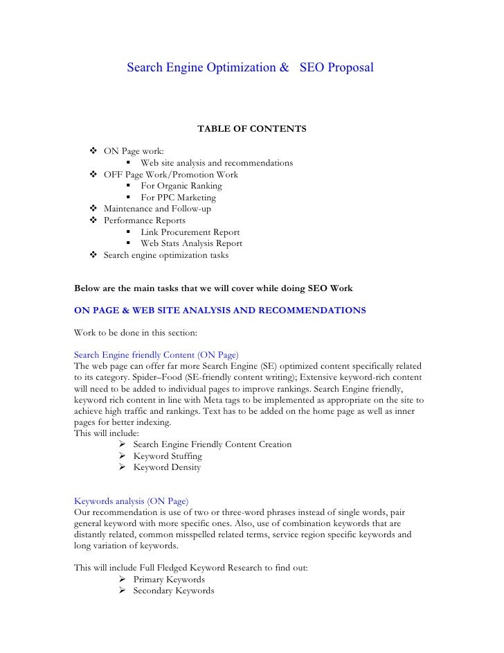 Search Engine Optimization & SEO Proposal                                   TABLE OF CONTENTS    ON Page work:          ...