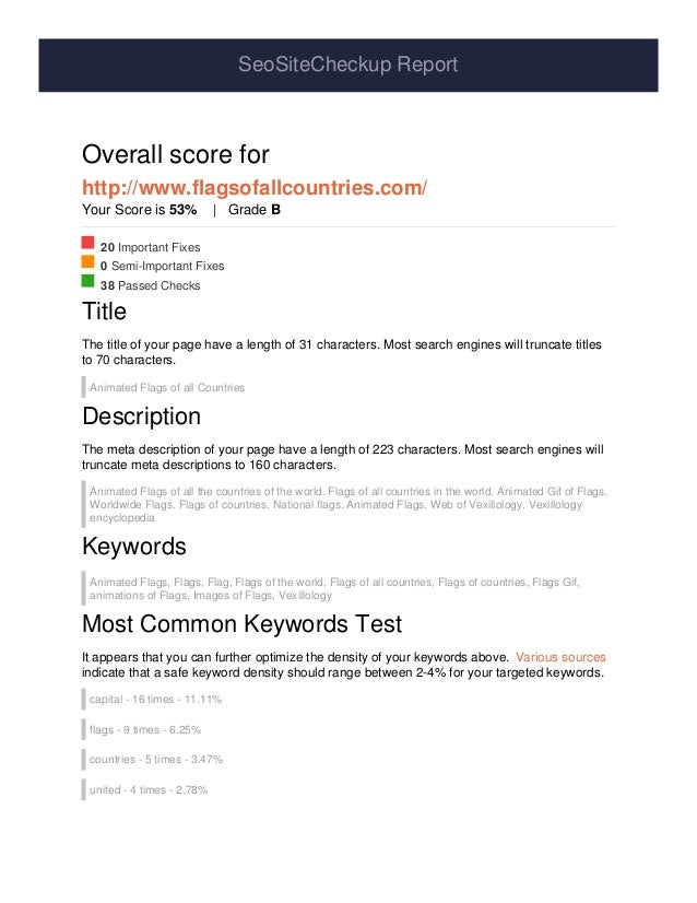 SeoSiteCheckup Report Overall score for http://www.flagsofallcountries.com/ Your Score is 53% | Grade B 20 Important Fixes...