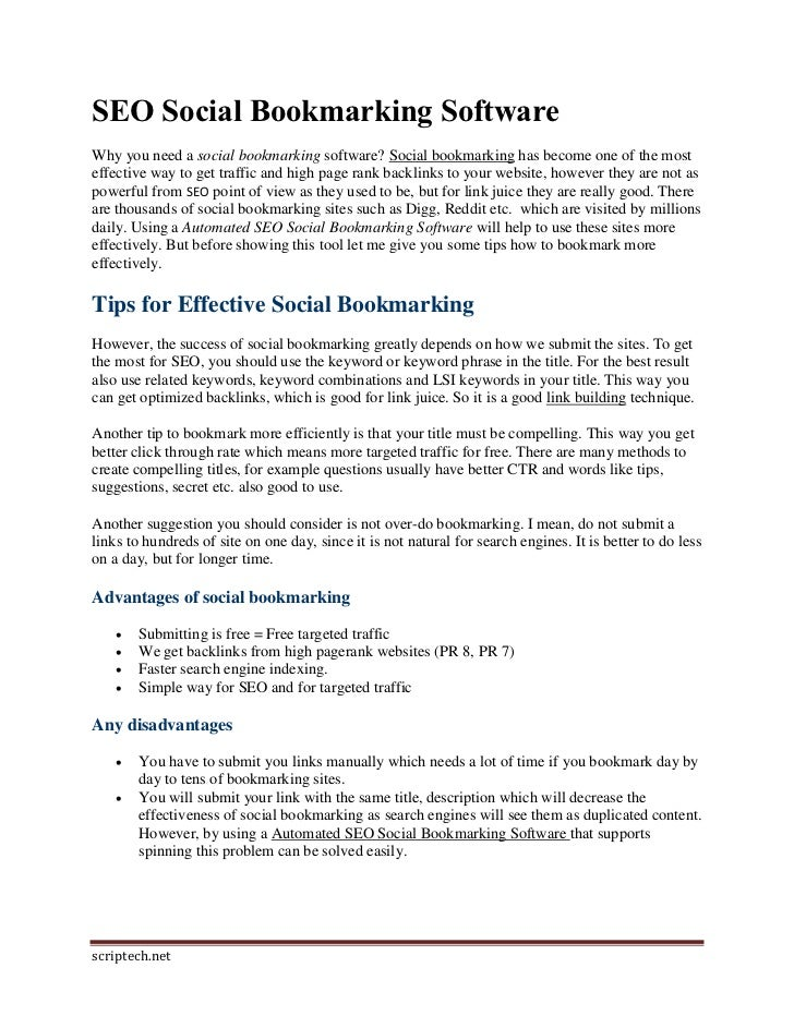 SEO Social Bookmarking SoftwareWhy you need a social bookmarking software? Social bookmarking has become one of the mostef...