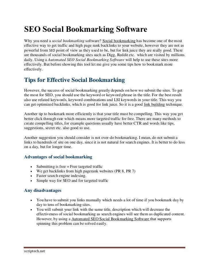 SEO Social Bookmarking Software