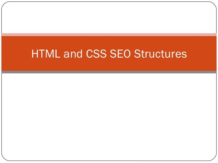 HTML and CSS SEO Structures