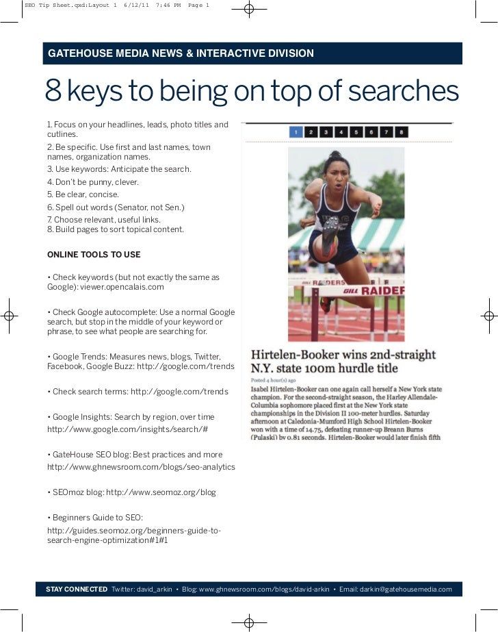SEO Tip Sheet.qxd:Layout 1    6/12/11   7:46 PM   Page 1      GATEHOUSE MEDIA NEWS & INTERACTIVE DIVISION     8 keys to be...