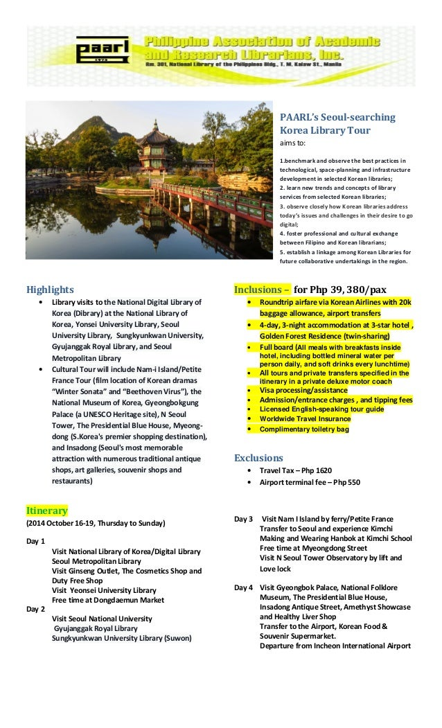 Seoul searching korea library tour package