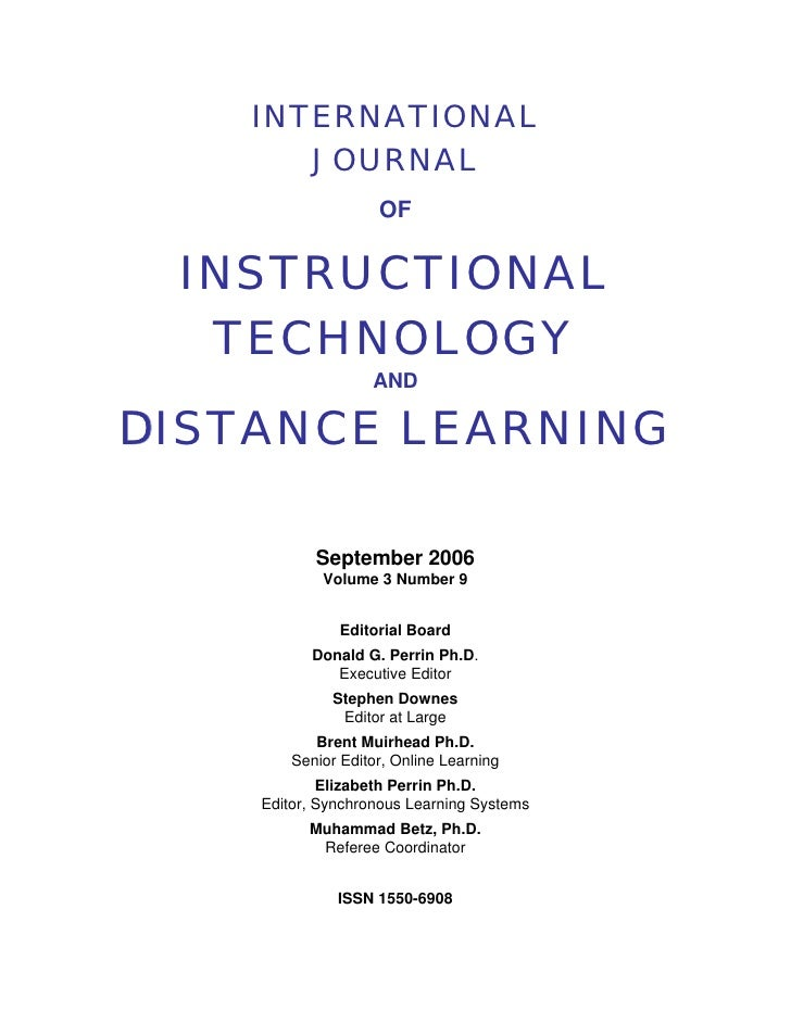 International Journal of Instructional Technology and Distance Learning            INTERNATIONAL           JOURNAL        ...