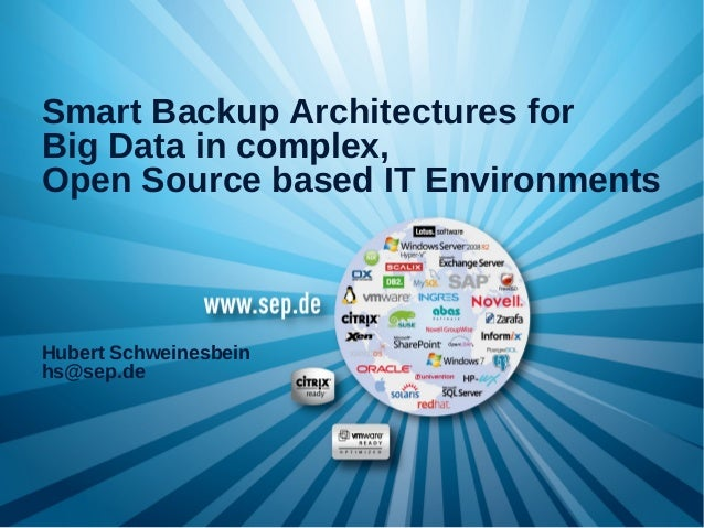 Smart Backup Architectures for Big Data in Complex, Open Source Based IT Environments