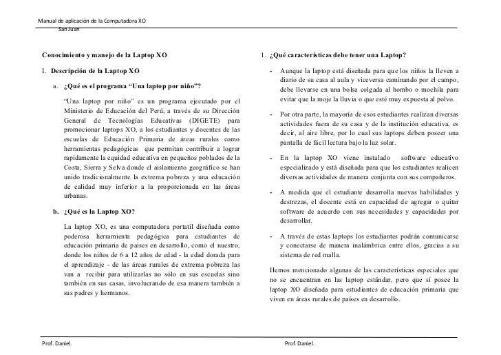 Manual de aplicación de la Computadora XO       San Juan Conocimiento y manejo de la Laptop XO                            ...