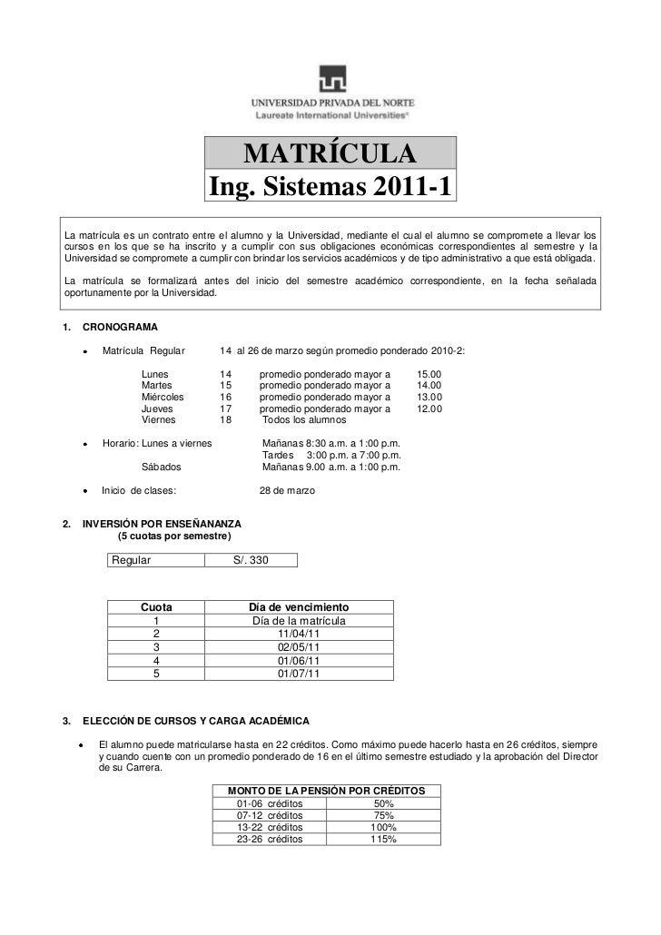 Separata de matricula  IS11, UPN 2011-1