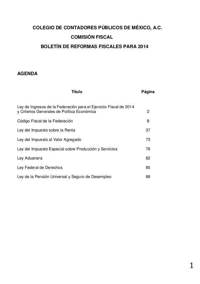 Boletín de Reformas Fiscales 2014