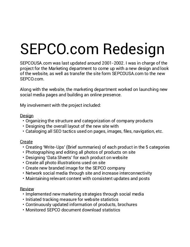 SEPCO.com Redesign SEPCOUSA.com was last updated around 2001-2002. I was in charge of the project for the Marketing depart...