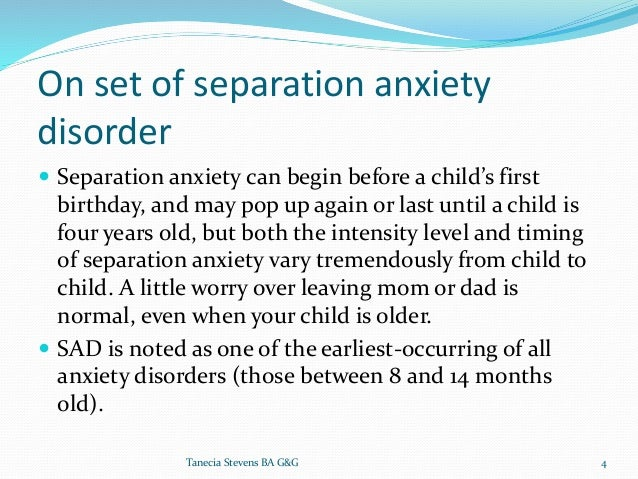 separation anxiety disorder research paper Anxiety is characterized by feelings of tension, worried thoughts and physical changes anxiety disorders such as panic disorder and obsessive compulsive disorder (ocd) cause recurring intrusive thoughts or concerns and physical symptoms such as sweating, trembling, dizziness or a rapid heartbeat.