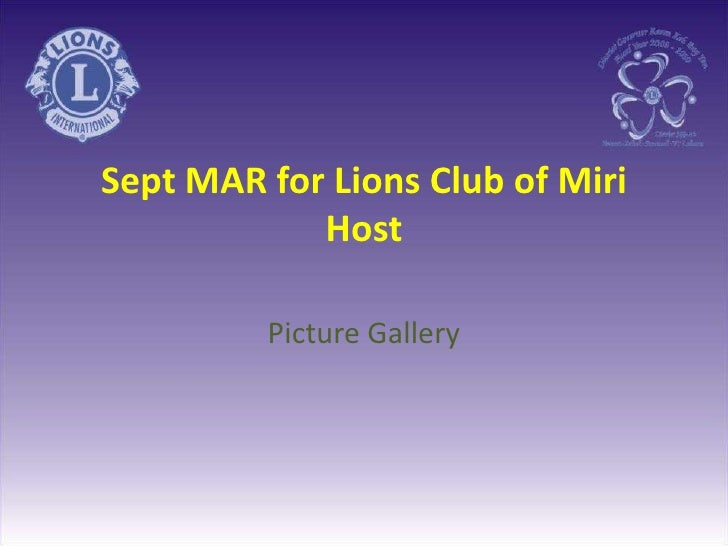 Sept MAR for Lions Club of MiriHost <br />Picture Gallery<br />