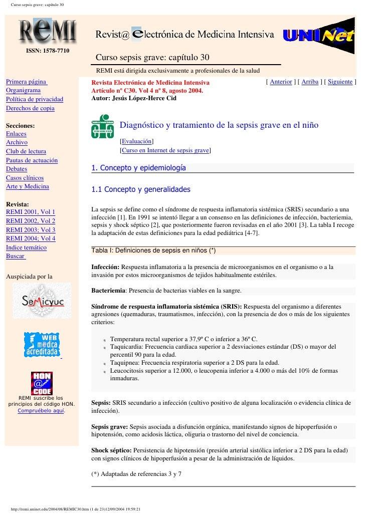 Curso sepsis grave: capítulo 30              ISSN: 1578-7710                                                Curso sepsis g...