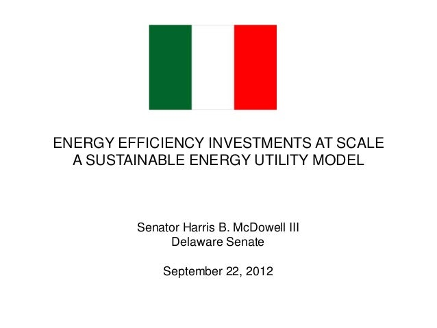 ENERGY EFFICIENCY INVESTMENTS AT SCALE A SUSTAINABLE ENERGY UTILITY MODEL  Senator Harris B. McDowell III Delaware Senate ...